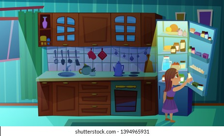 Little Girl Taking Bottle of Milk from Fridge in Cooking Room at Night Time. Domestic Interior with Kitchen Counter Appliances, Dishwasher, Stove, Household Objects. Cartoon Flat Vector Illustration