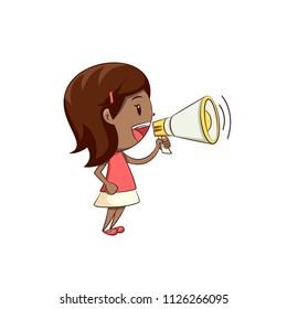 Little girl talking megaphone