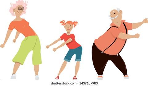 Little girl teaching her grandparents to floss dance, EPS 8 vector illustration