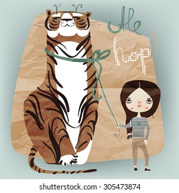 little girl with tiger