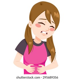 Little girl touching her belly having terrible stomachache pain