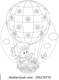 Little girl travelling with her kitten on an air balloon with flowers