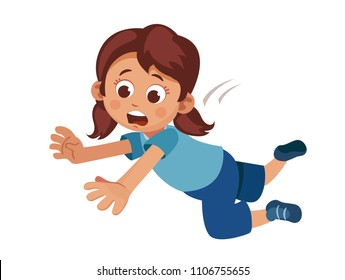 little girl tripped and falls. problems with coordination of movement. the vestibular apparatus. a fall risk for children.