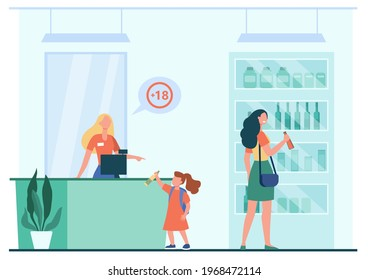 Little girl trying to buy alcohol. Mother with child at liquor store, saleswoman refusing to sell bottle to kid flat vector illustration. Alcohol, liquor store concept for banner, website design