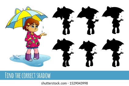 Little girl with umbrella.  Find the correct shadow. Educational game for children. Cartoon vector illustration.