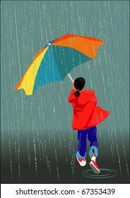 A little girl with umbrella runs in the rain