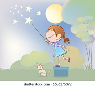 The little girl uses a small stick to touch the stars.  hand drawn style vector design illustrations.