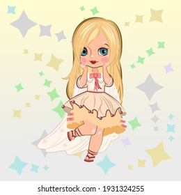 Little girl. Vector isolated illustration. Beautiful fashionable child. Surrounded by stars. Flat cartoon style