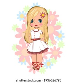 Little girl. Vector isolated illustration. Beautiful fashionable child. Surrounded by flowers. Flat cartoon style