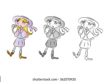 Little girl vintage eating vector illustration for children book