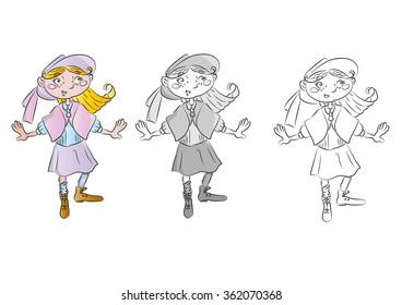 little girl vintage vector illustration for children book