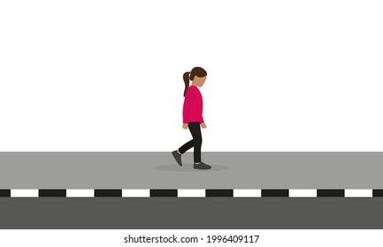 Little girl walking alone on the sidewalk on a white background