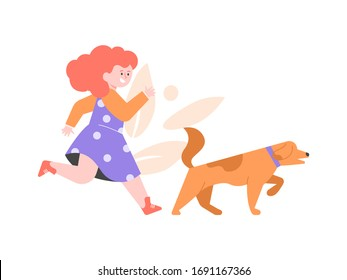 Little girl walking a dog. The child and her pet. Vector flat illustration.