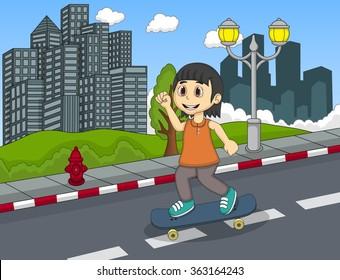 Little girl walking at the street  hand cartoon vector illustration