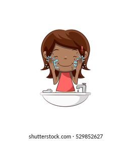 Little girl washing face