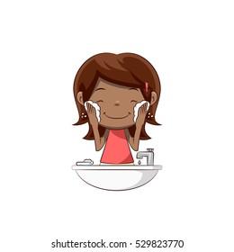 Little girl washing face, lathering