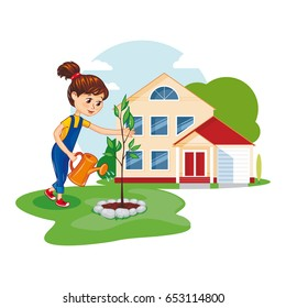Little girl with a watering can water a young tree. Girl on the background of the house. Cute vector illustration.
