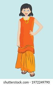little girl wearing kameez and sharara dress, shirt and skirt