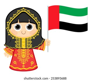 Little Girl Wearing Traditional Dress and Holding United Arab Emirates flag