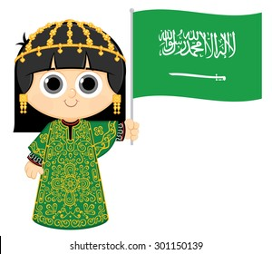 Little Girl Wearing Traditional Dress and Holding Saudi Arabia flag