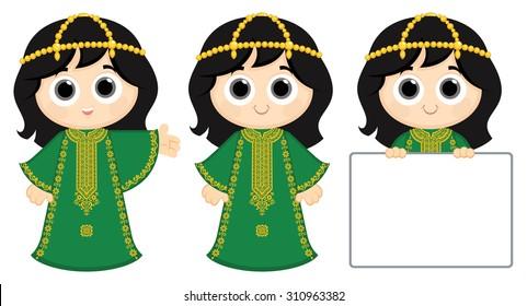 Little Girl Wearing Traditional Dress