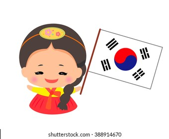 Little Girl Wearing Traditional Dress and Holding  south korean flag.vector art