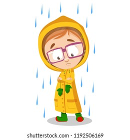 Little girl wearing yellow raincoat under rain isolated personage. Sad girl in glasses standing at rainy day. Cold autumn weather. Seasonal rainfall vector illustration. Weather forecast with kids.
