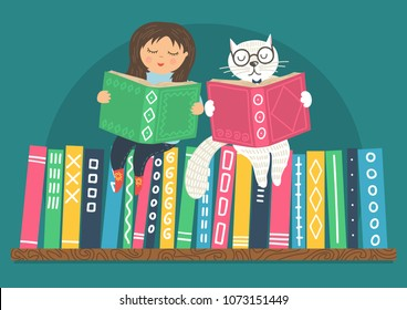 Little girl and white clever cat read books on bookshelf. Different color books with ornament on shelf on teal background. Education vector illustration.