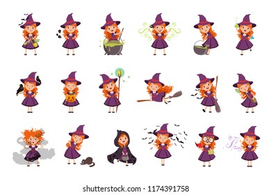 Little girl witch set wearing purple dress and hat