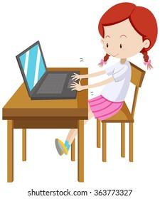 Little girl working on computer illustration