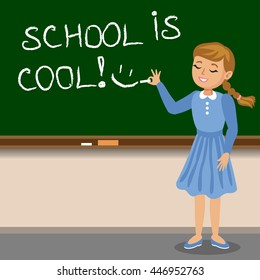 Little girl to write with chalk on the school blackboard. School is cool. Vector illustration