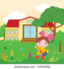 little girls with camera outside house cartoon character