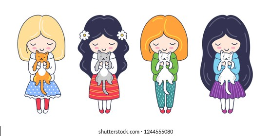Little girls with cats. Cute cartoon colorful characters. Vector illustration for print, card, postcard, poster, t-shirt, tattoo.