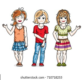 Little girls cute children group standing in stylish casual clothes. Vector diversity kids illustrations set.