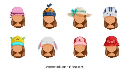 Little girl's hat set. Collection of female faces.  Userpics of hair style different kids. Variety and different types of fashion. Vector illustration.