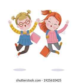 little girls jumping. Girl and friends. Student jumping and gesturing happiness.