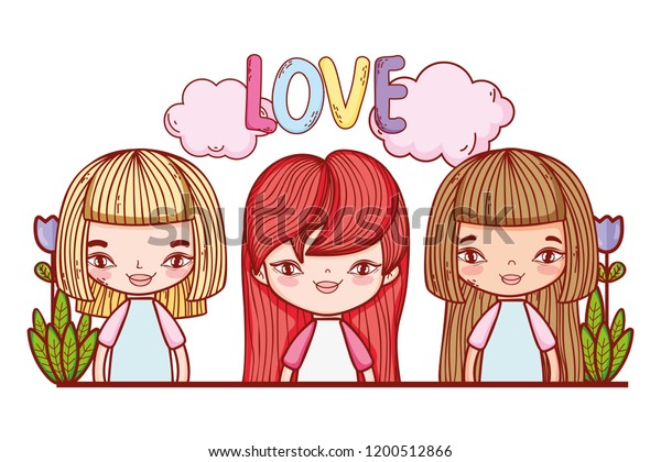 Little Girls Love Cute Drawings Stock Vector Royalty Free