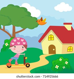 little girls play scooters outdoors cartoon character