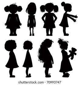 Little girls silhouettes set.