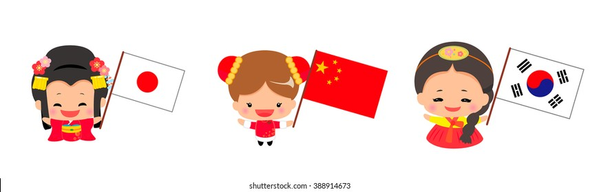Little Girls Wearing Traditional Dress and Holding national flag set.vector art