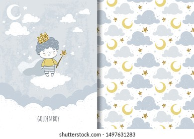 Little golden prince boy on the cloud with crown on head and magic wand in hands, staying on the cloud in the night sky with moon and stars. Kids card template and seamless background pattern design.