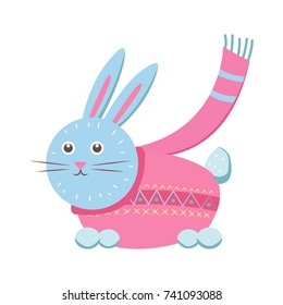 Little gray hare in sweater icon isolated on white background. Vector illustration with animal with long ears in pink sweater with scarf