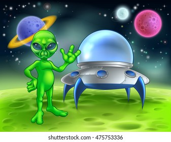 A little green man alien cartoon character waving in front of his flying saucer space ship on a planet or moon