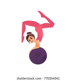 Little gymnast, acrobat girl doing handstand on ball, cartoon vector illustration isolated on white background. Pretty flexible acrobat girl doing handstand exercise with big gymnast ball, side view