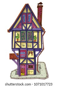 A little half timbered medieval house. Cartoon.