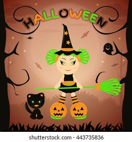 Little Hallowe'en witch with a broom in the forest. Vector illustration themed Halloween celebration.
