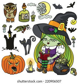 Little Halloween Witch girl reading book.Girl with green hair and big hat.Halloween isolated items boiler,cat,spooky pumpkin,wing,moon,owl,bats,poison. Cartoon vector illustration