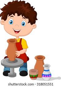 Little happy boy produced on potters wheel pot