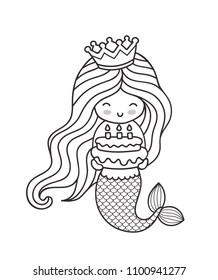 little happy princess mermaid holding 260nw