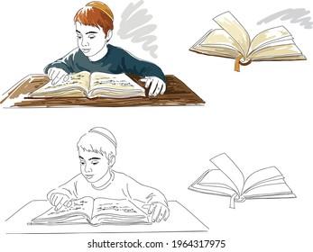Little Hasidic Jewish boy studying. Vector illustration.